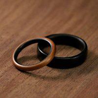 wooden wedding rings proposal